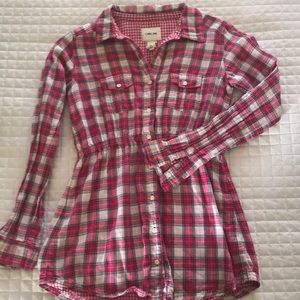 Pink plaid button-up top